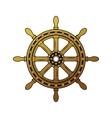 Vintage ship helm logo Old-fashioned rough vector image