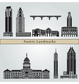 Austin landmarks and monuments vector image vector image