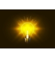 Bright lighting bulb with golden light in the dark vector image