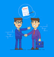 businessmen shake hands and signing contract vector image