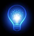 digital brain inside electric bulb vector image