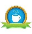 Gold cup of coffee logo vector image