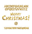merry christmas with golden letters and numbers vector image