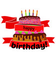 sweet birthday cake wrapped in red ribbons vector image