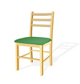 Wooden chair with green seat vector image