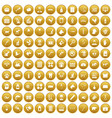 100 veterinary icons set gold vector image