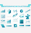 infographics collection blue graph vector image