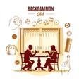 Backgammon Club Vintage Style Design vector image
