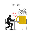 Beer lover Lovers in cafe Man and coffee beans vector image