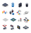 Semiconductor Components Icon Set vector image