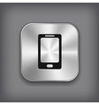 Phone icon - metal app button vector image vector image