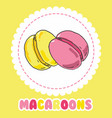 sweet yellow and pink french macaroon cake vector image