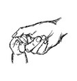 close-up hand of baby and mother holding together vector image