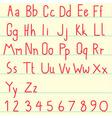 red alphabet vector image