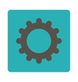 Gear flat grey and cyan colors rounded button vector image