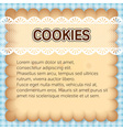 cute rectangle cookies with lace on blue vector image