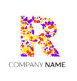 letter r logo with purple yellow red particles vector image