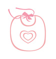 Pink baby bib with heart vector image