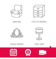 Mirror table lamp and armchair icons vector image