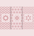 set of seamless patterns in red color with logo vector image