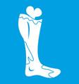 zombie leg icon white vector image