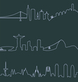 San Francisco Rio and Barcelona profile lines vector image vector image