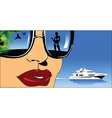 Woman on boat design vector image