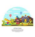 colorful amusement park template vector image