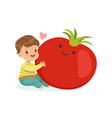 happy boy having fun with fresh smiling tomato vector image