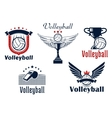 Volleyball game emblems with sport items vector image