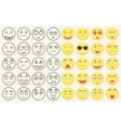 Set of outline and colorful emoticons emoji vector image