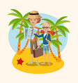woman and girl map suitcase starfish palm sand vector image