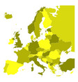 political map of europe in four shades of yellow vector image