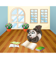 A panda reading inside the house vector image vector image