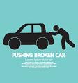 Pushing Broken Car Graphic Symbol vector image