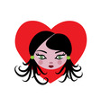 cartoon girl with heart vector image vector image