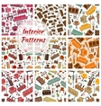 Home interior furniture and lamp seamless patterns vector image