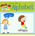 Flashcard letter U is for unhappy vector image
