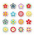Flower head icons set vector image vector image