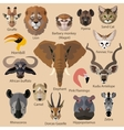 Set of african animals faces isolated icons Flat vector image