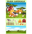 Farm theme with animals and field vector image