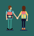 Couple of tourist with Backpacks Standing Back Vie vector image