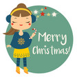 cute winter girl holding candy cane merry vector image