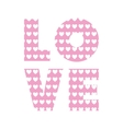 love word with heart shape vector image