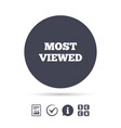 Most viewed sign icon most watched symbol vector image