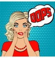 Oops Surprised young blonde woman 2 vector image