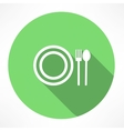 plate with spoon and fork icon vector image