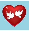 Wedding pigeons in heart vector image