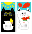 Cat calendar 2017 Cute funny cartoon white black vector image