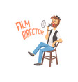 film director sitting in his chair speaking into a vector image